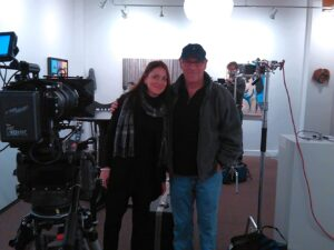 Natalie Boll and author RS Perry on filming set Vancouver
