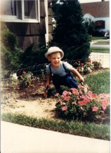 RS Perry author gardening at five year old
